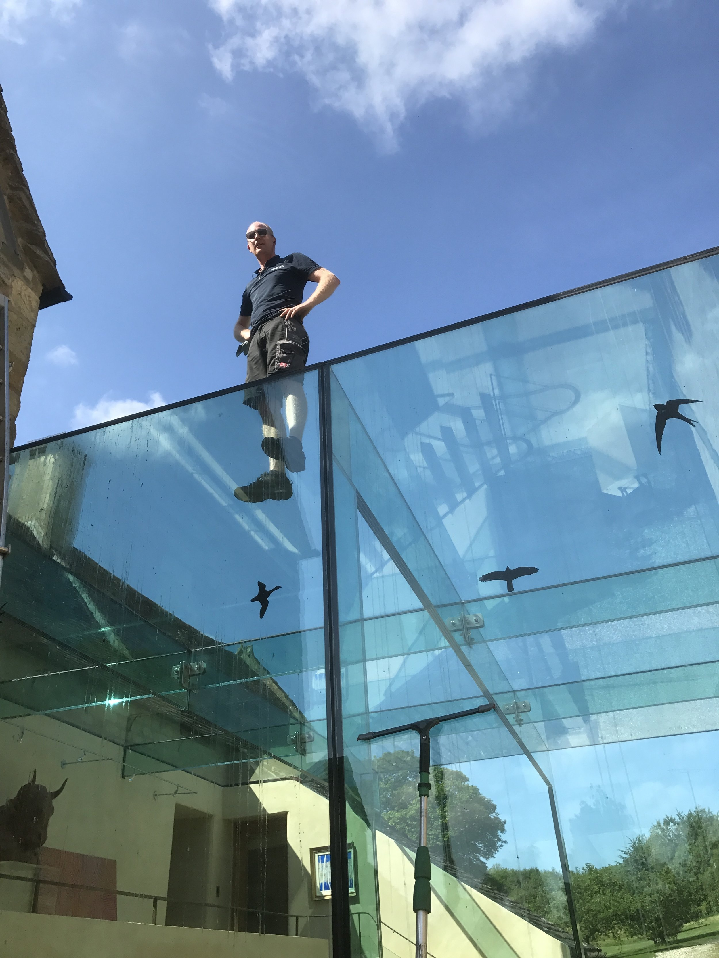 The multi-layer toughened glass is strong enough to stand on!