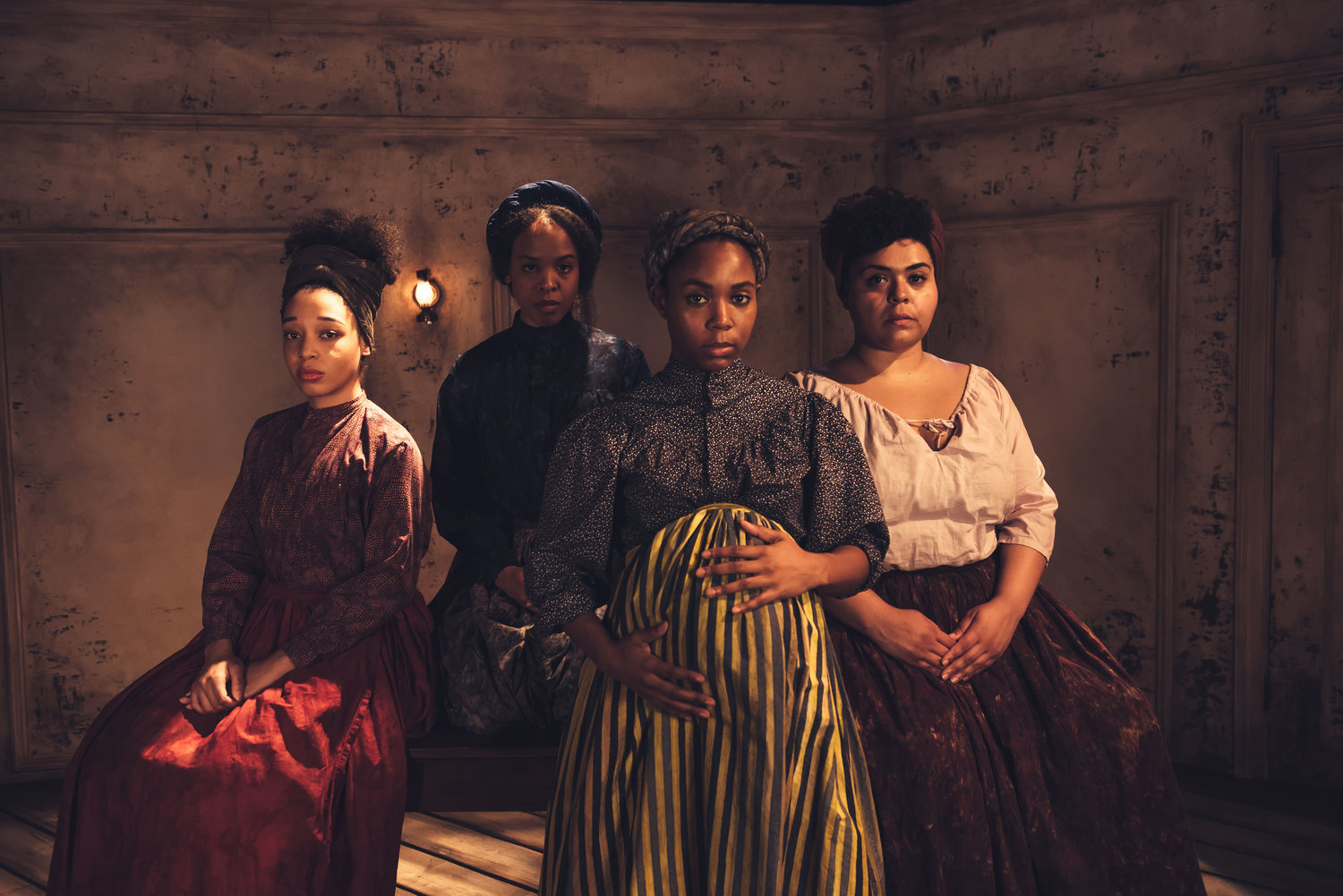 Ensemble Studio Theatre/Alfred P. Sloan Foundation present     BEHIND THE SHEET   by Charly Evon Simpson directed by Colette Robert*   A NEW YORK TIMES CRITIC'S PICK!   set by Lawrence E. Moten III  costumes by Sarah Woodham   lighting by Adam Honoré sound design by Fan Zhang
