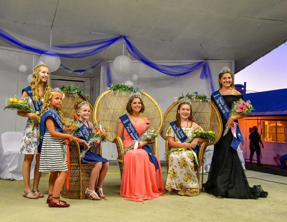 2018 Franklin County Fair Royalty Court from left to right : Bree Beam, Riley Martin, Laine Hess, Kelsey Stewart, Megan Markley, Selina Horst