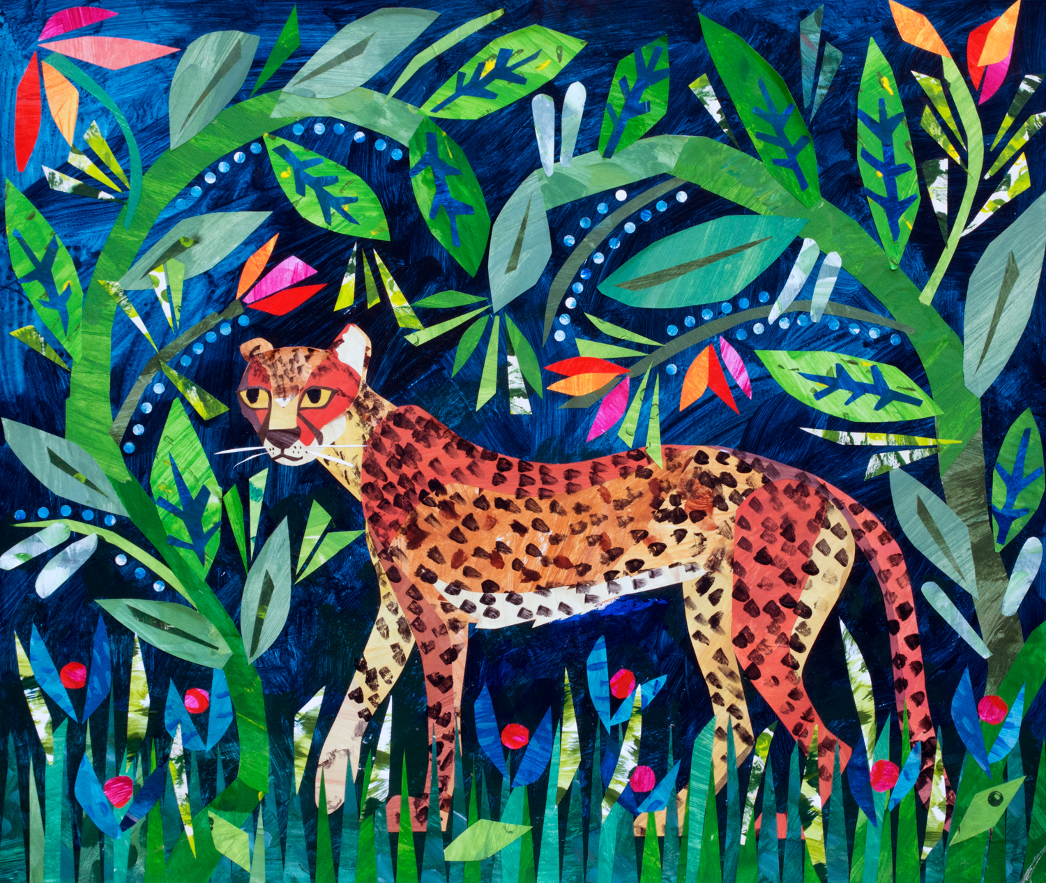 'Leopard in the Grass', paper collage