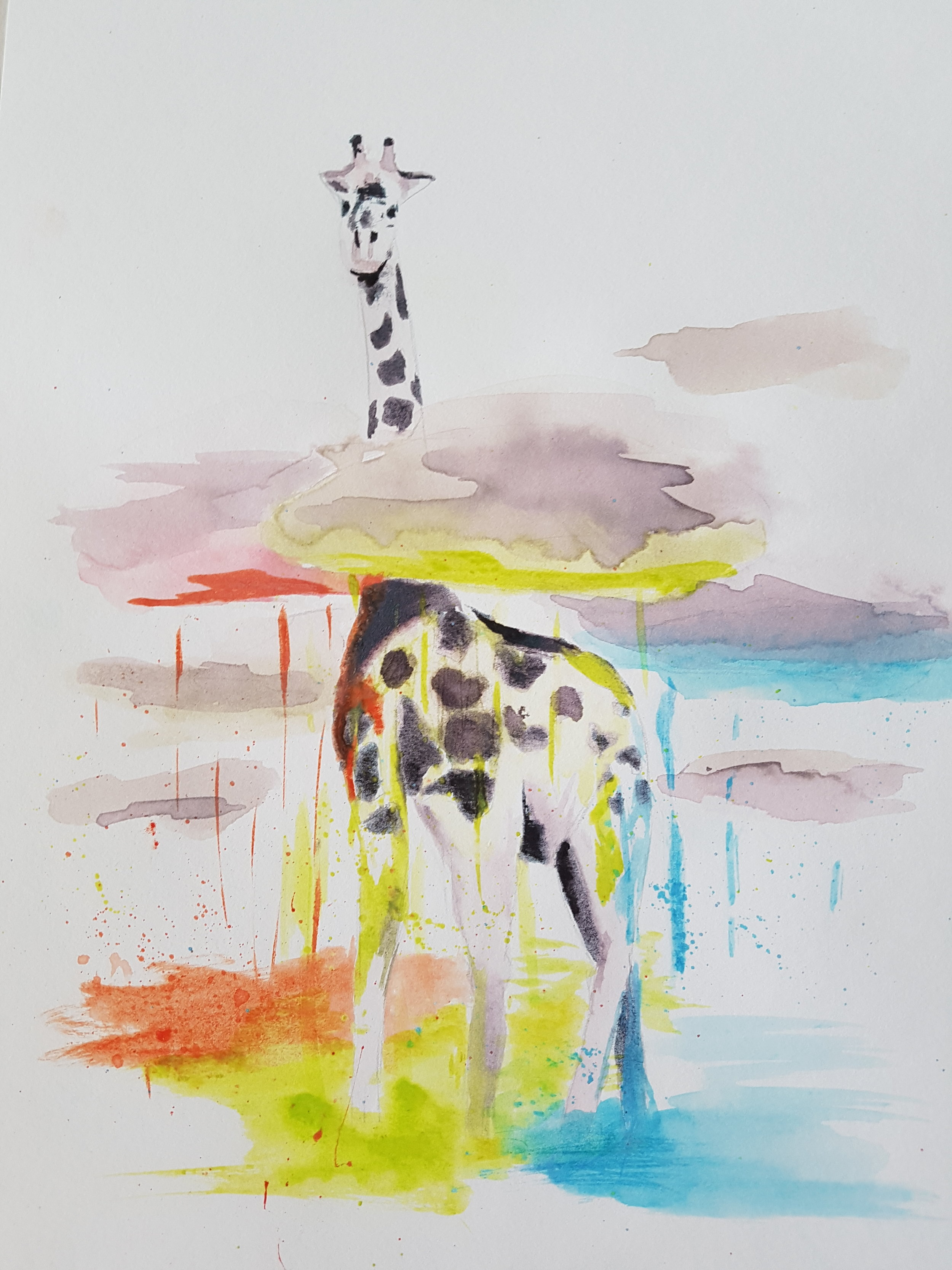 """""""Raining Color"""" 8x12  This was one of the very first paintings I did with my Crayola watercolor set. I did a series of watercolor animals I found online, where the goal was to simply paint what I saw. I chose this giraffe because the crayola colors were so wild and bright that I knew they wouldn't look natural in any kind of landscape. So I picked a painting where I could break the rules a little. Not to mention I loved the original idea (credit to Phillip Grein at  boredpanda.com )."""