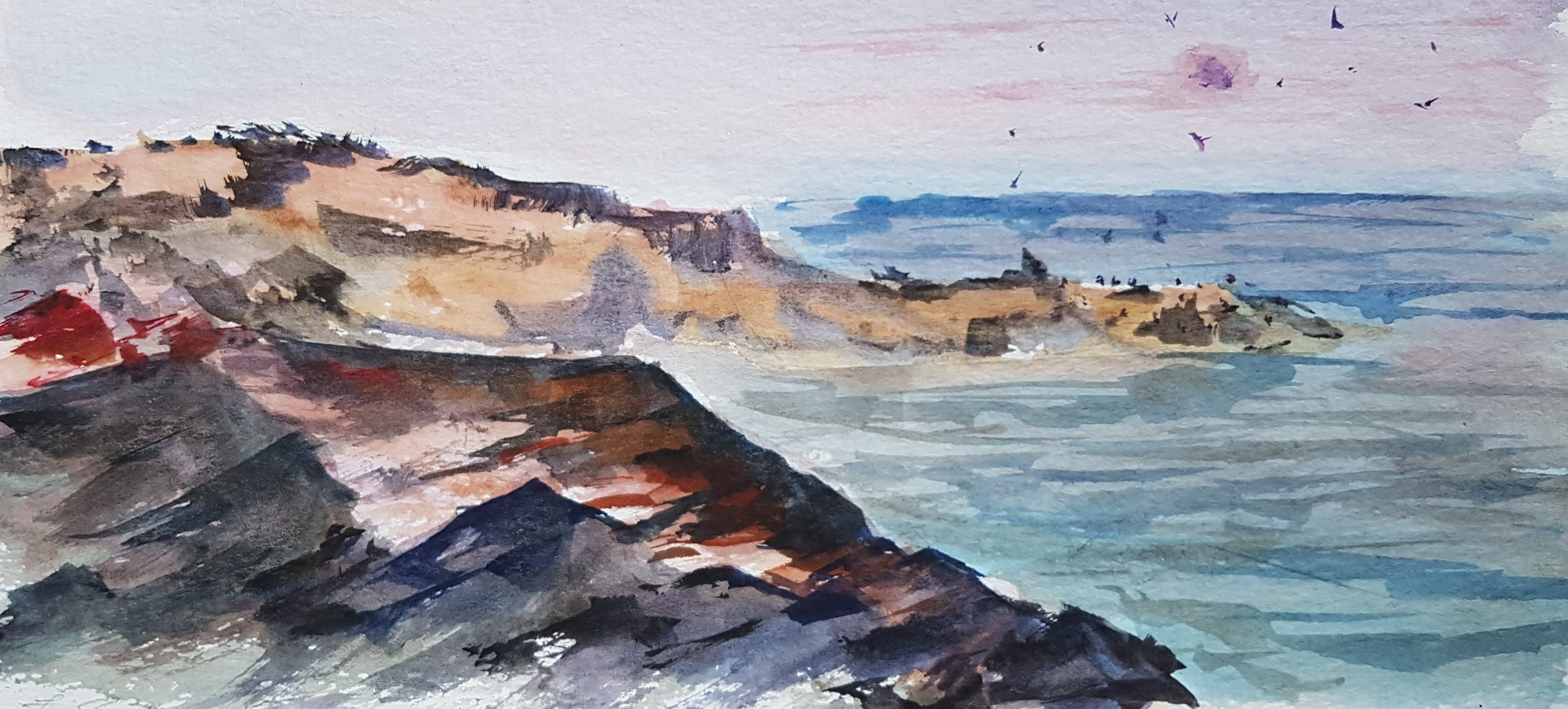 """""""Ocean Point 2"""" 5x12  In this piece I tried to capture how the rocky coastline changes at sunset and how the rocks seem to come alive with a different palette of colors."""