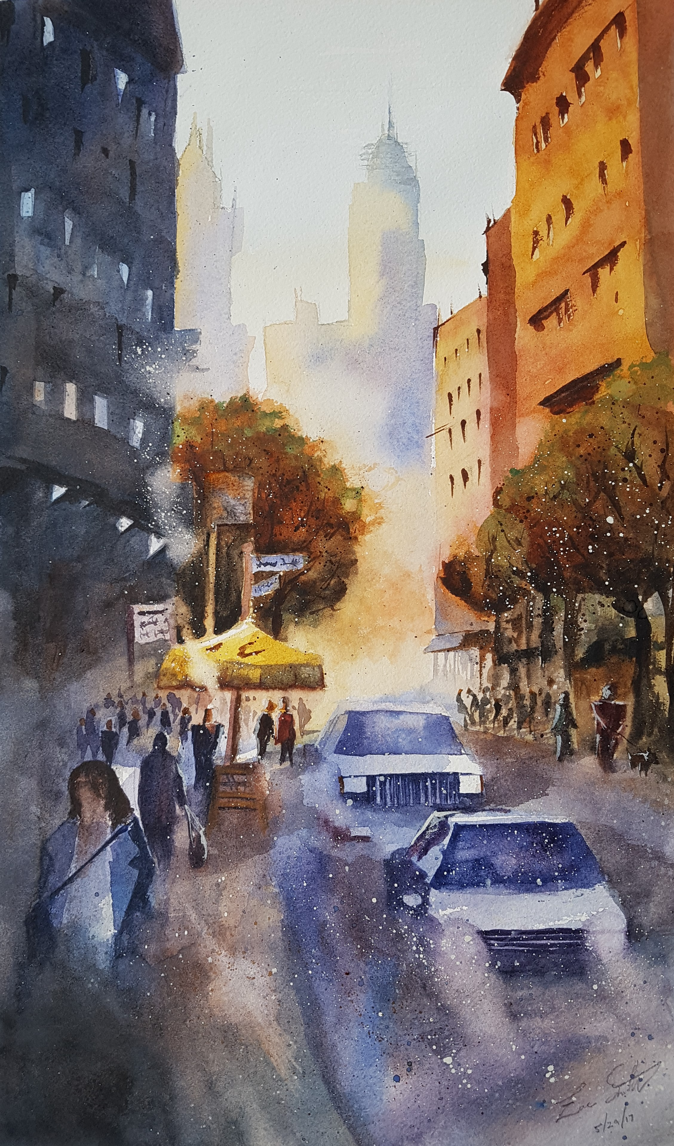 """""""NYC Morning"""" 20x16  I painted this along with a watercolor demo by an artist named Iain Stewart. I noticed that he mainly painted with just three colors - blue, orange, and yellow - and I tried to keep to the spirit of the limited palate throughout the painting.  You can see more of Iain's art on his  Youtube channel , as well as his  website ."""
