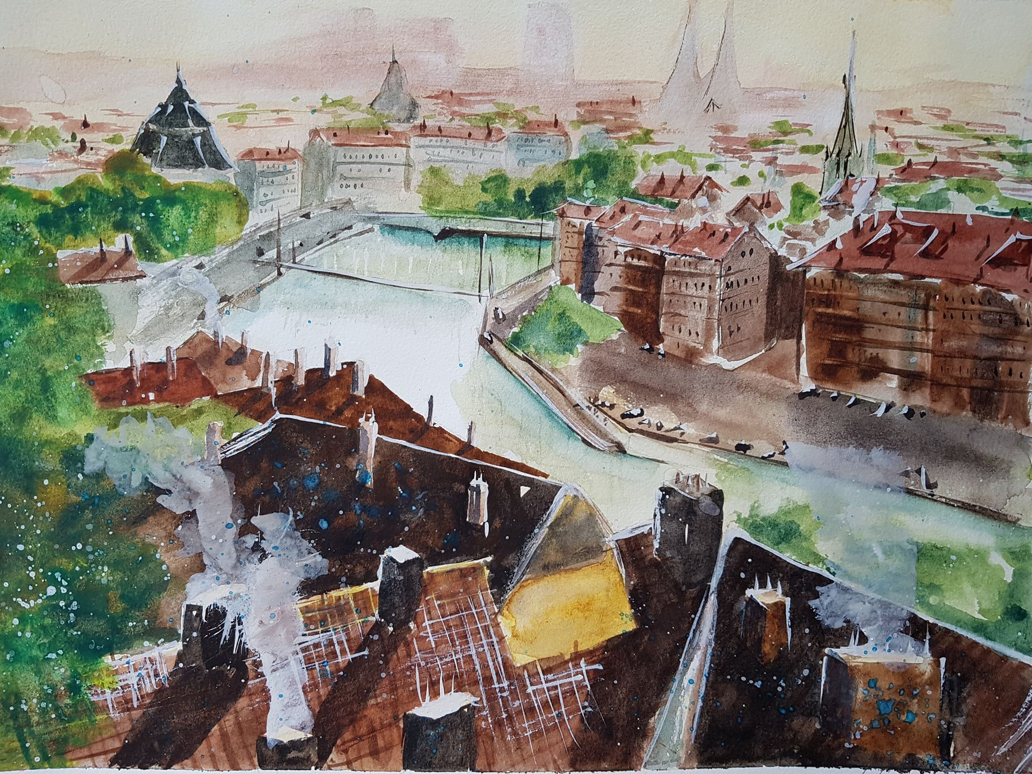 """""""View from Lyon - France"""" 8.5x11  Reference photo came from Umberto Rossini's painting of the same name. Find more of Umberto's work on his  YouTube Channel ."""