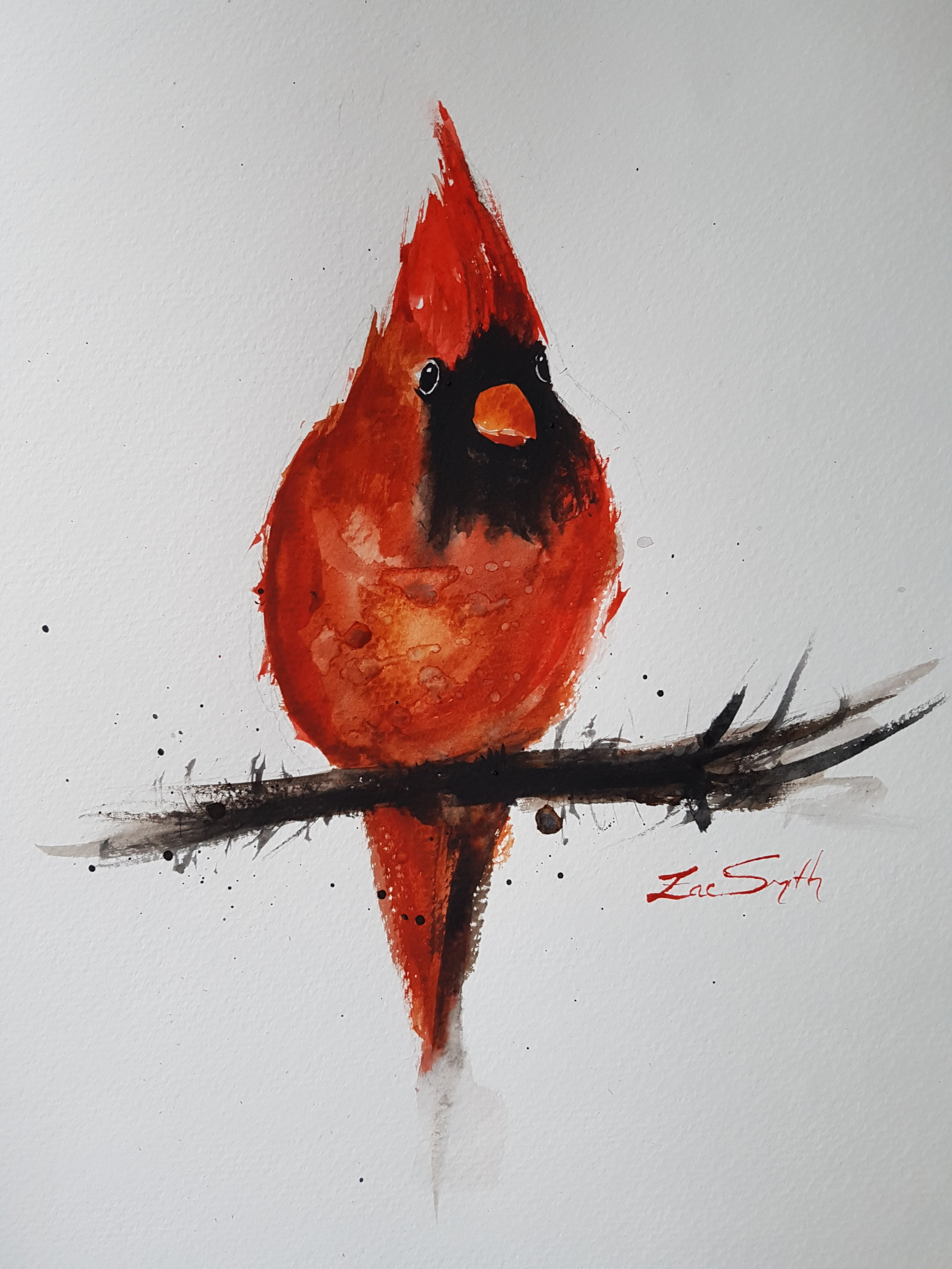 """""""Nitin's Cardinal"""" 14x11.5"""" [SOLD]  One of the painters I enjoy watching is Nitin Singh ( link to his YouTube channel ), and this is an exercise I took from one of his videos."""