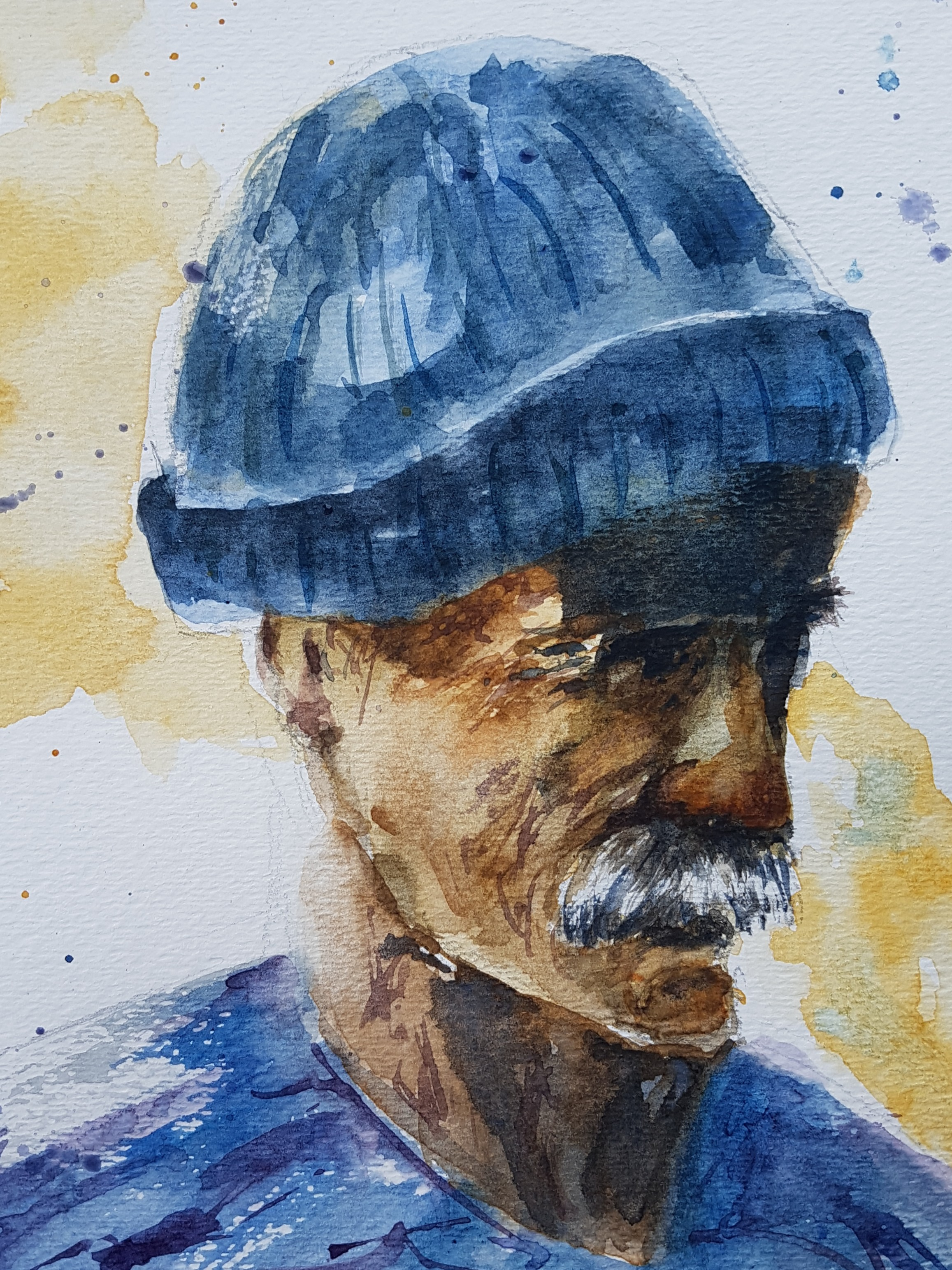 """""""Tribute to the Pushbroom Mustache"""" 14x11"""""""