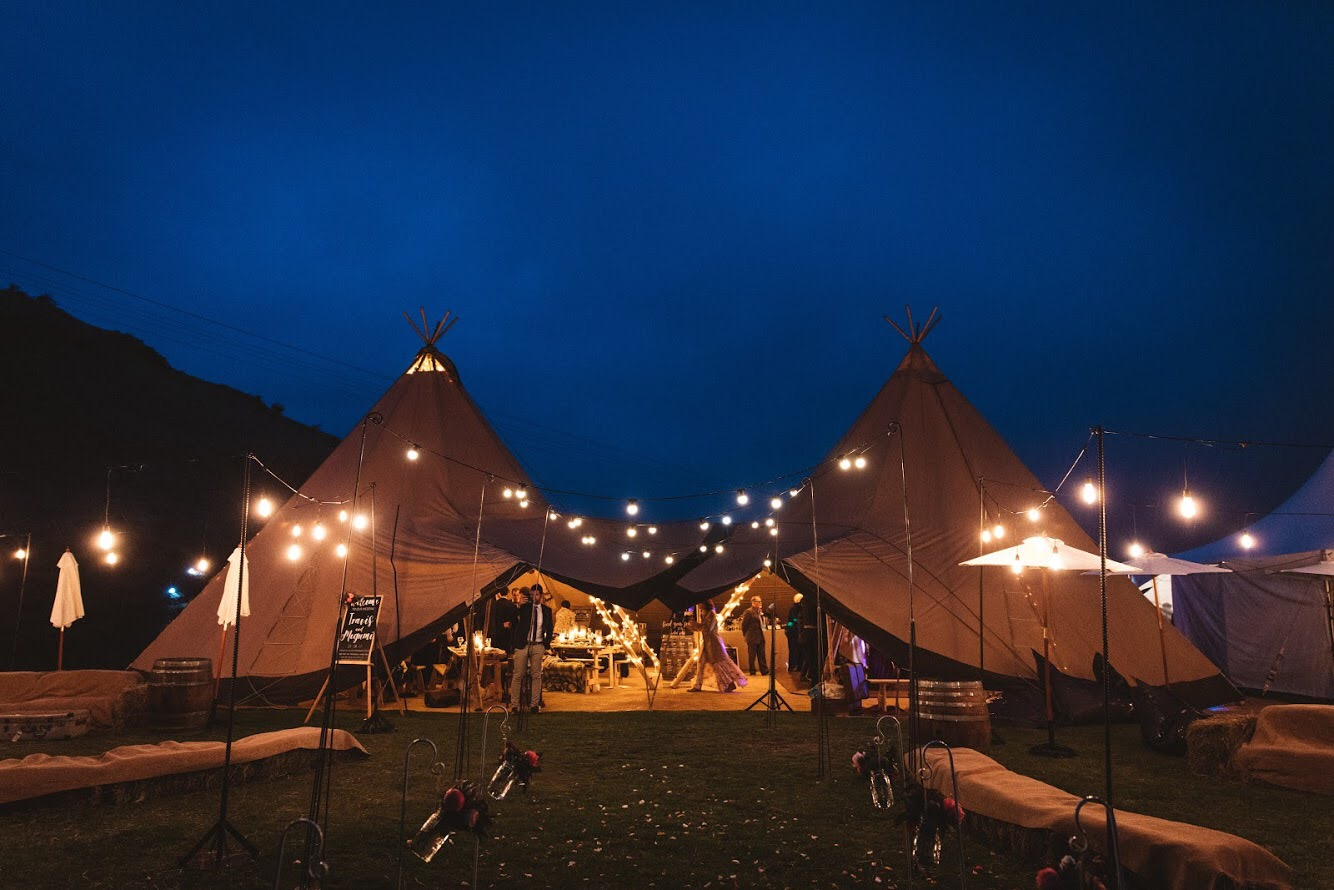 Festoons and tipis at NZ High Country Tussock Point