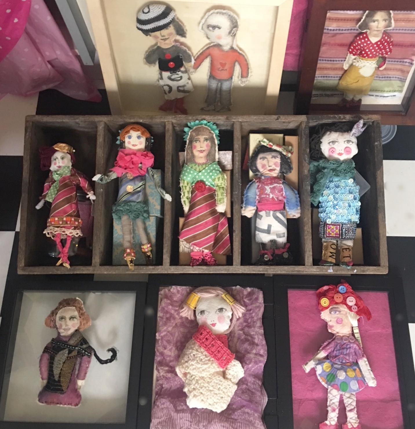 various handmade dolls
