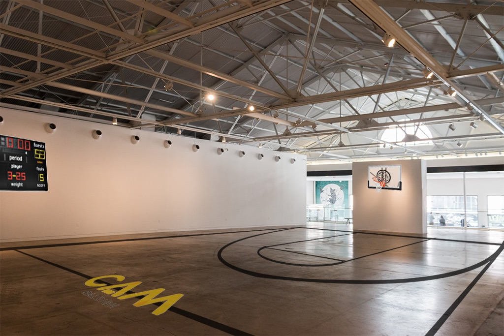Mockup of CAM Main Gallery with basketball court installation (actual court will feature artwork by Filipe Pantone).