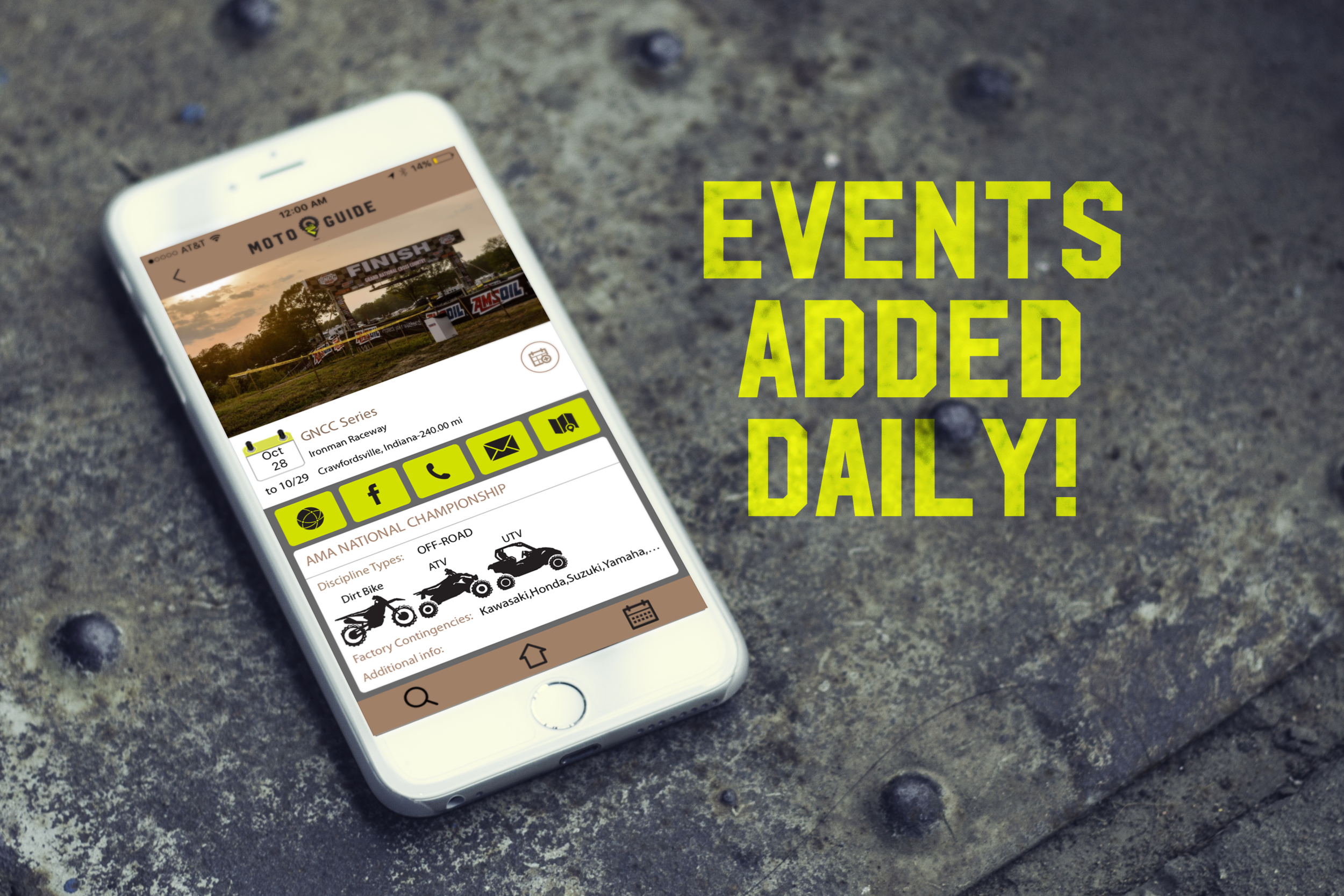 Database of Events - With new events being added daily, search through a database of racing events and organized practice days. Our MotoGuide administrators review and update our database of events on a daily basis looking for new events and cancelled events.
