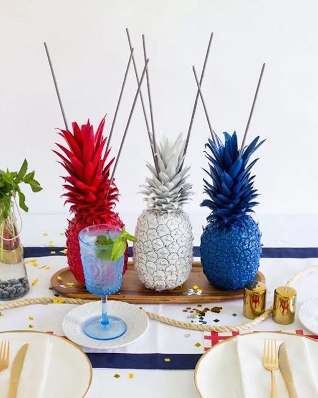 Here's a perfect way to mix an End of Summer Party bash with Labor Day vibes. Spray paint some pineapples in red, white and blue to give your summer party a patriotic feel.#summerparty #summer #laborday #labordayweekend #party #nyceventplanner #nyevents #doyenneeventsbytiffany #partystylist #celebrationstylist #diy #pinterest #love #eventer #eventplanner #eventmanager #eventstyling #ny