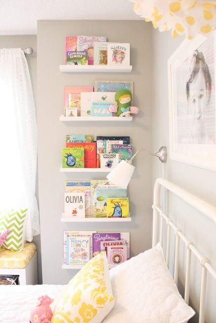 It seems like the books are always accumulating (a good problem to have!). Putting them up for display is not only a creative way to showcase each book but gives them a specific home for a more organized room. Via:  House Beautiful