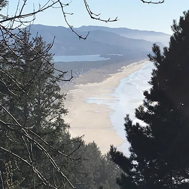 Overlooking Manzanita & Nehalem bay, spectacular hiking day at the coast #tillyouting#nehalemstatepark