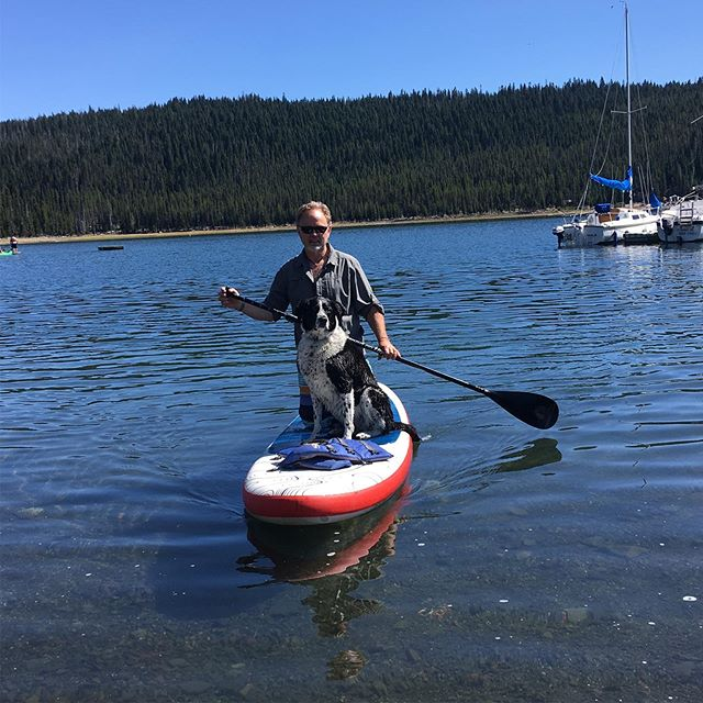 Tillys novice paddle board ride!  Elk lake eastern Oregon #rescuemyfavoritebreed#beautifulmountainlake#tillydog❤️#bestday