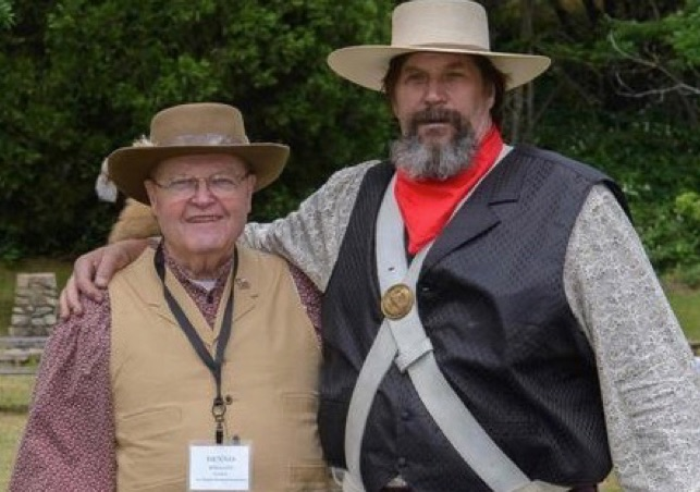 "S. Dennis Holland (left) with an actor in the California Living History production of ""More Precious than Gold: Contributions of the Mormon Battalion""."