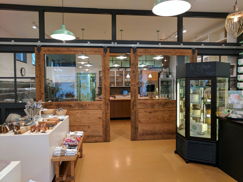 The Cakery - Large Barn Doors highlight the coolest kitchen in town!