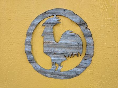 Chicken Coop. Homemade tin logo!