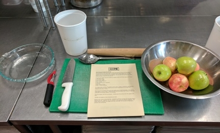 Pacific Pie setup for apple pie class.
