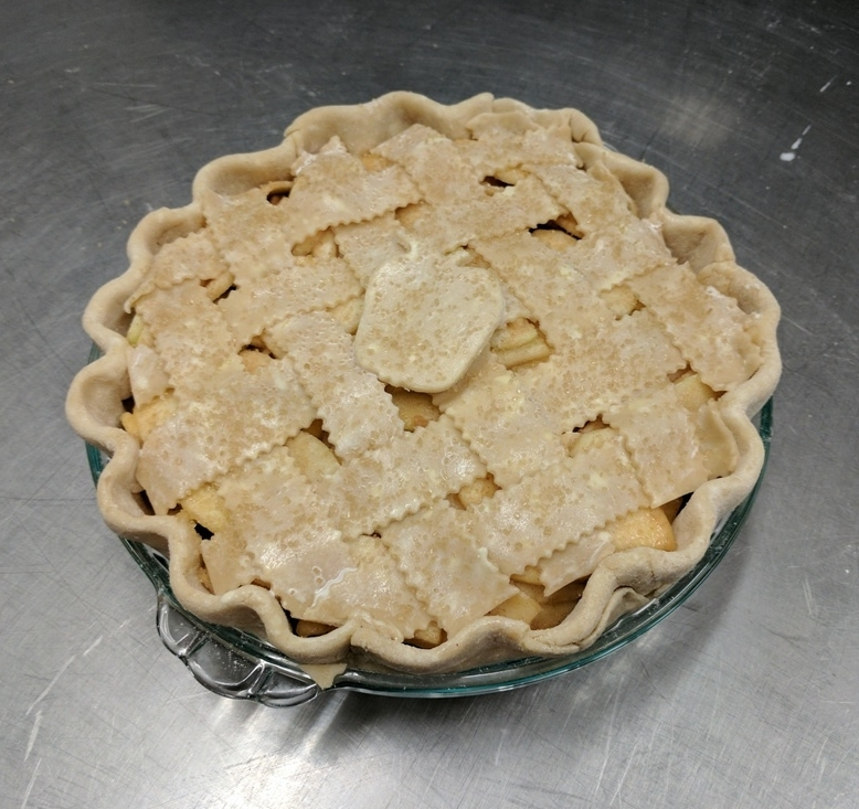 Assembled apple pie ready for the oven!