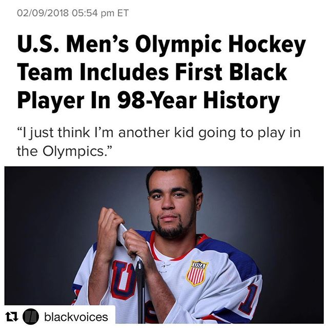 """We are constantly making history! #Repost @blackvoices with @get_repost ・・・ Boston University hockey player Jordan Greenway (@jgreenway12) will make history in Pyeongchang, South Korea, becoming the first African-American ever to be selected for the U.S. men's Olympic hockey team. Breaking that 98-year color barrier,which began in the 1920 Winter Gamesin Antwerp, Belgium, when men's ice hockey was first included, is a significant achievement, but Greenway tells NBC Sports that he is just """"another kid going to play in the Olympics."""" Greenway says he's happy to be firstand hopes it will inspire young minorities to give hockey a shot. """"I don't think a lot of African-Americans play hockey at a high level,"""" said Greenway. """"I'm just trying to get more and more of those kids to try and go out and do something different."""" At 14, Greenway began playing at Shattuck-St. Mary's prep school in Faribault, Minnesota, known for its hockey program. Greenway, at 6 feet, 5 inches and 238 pounds, will be the biggest player on the U.S. team when it takes the ice Feb. 14 and hockey competition officially kicks off. #BlackHistoryMonth"""