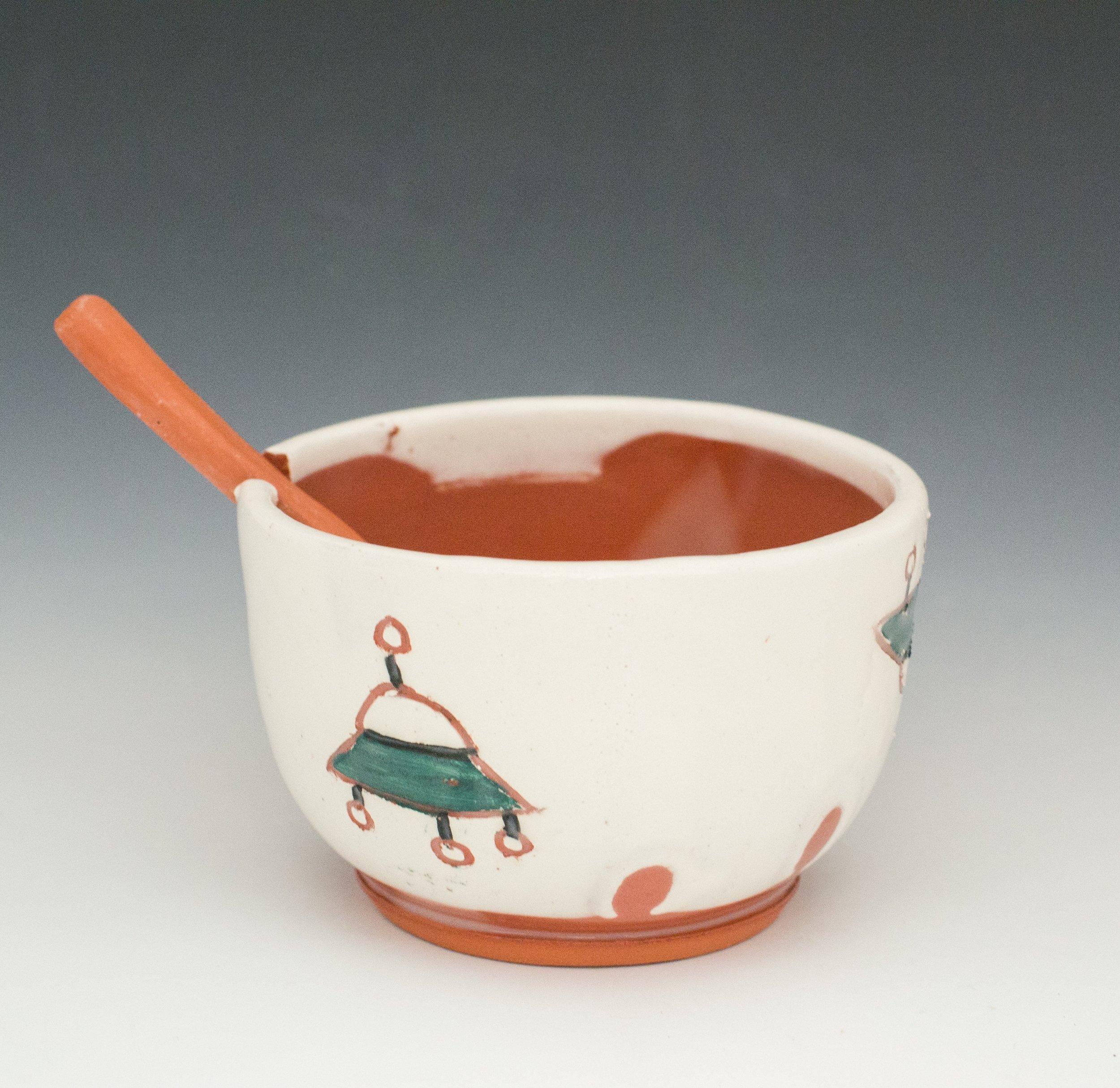 Spaceship sugar bowl with spoon