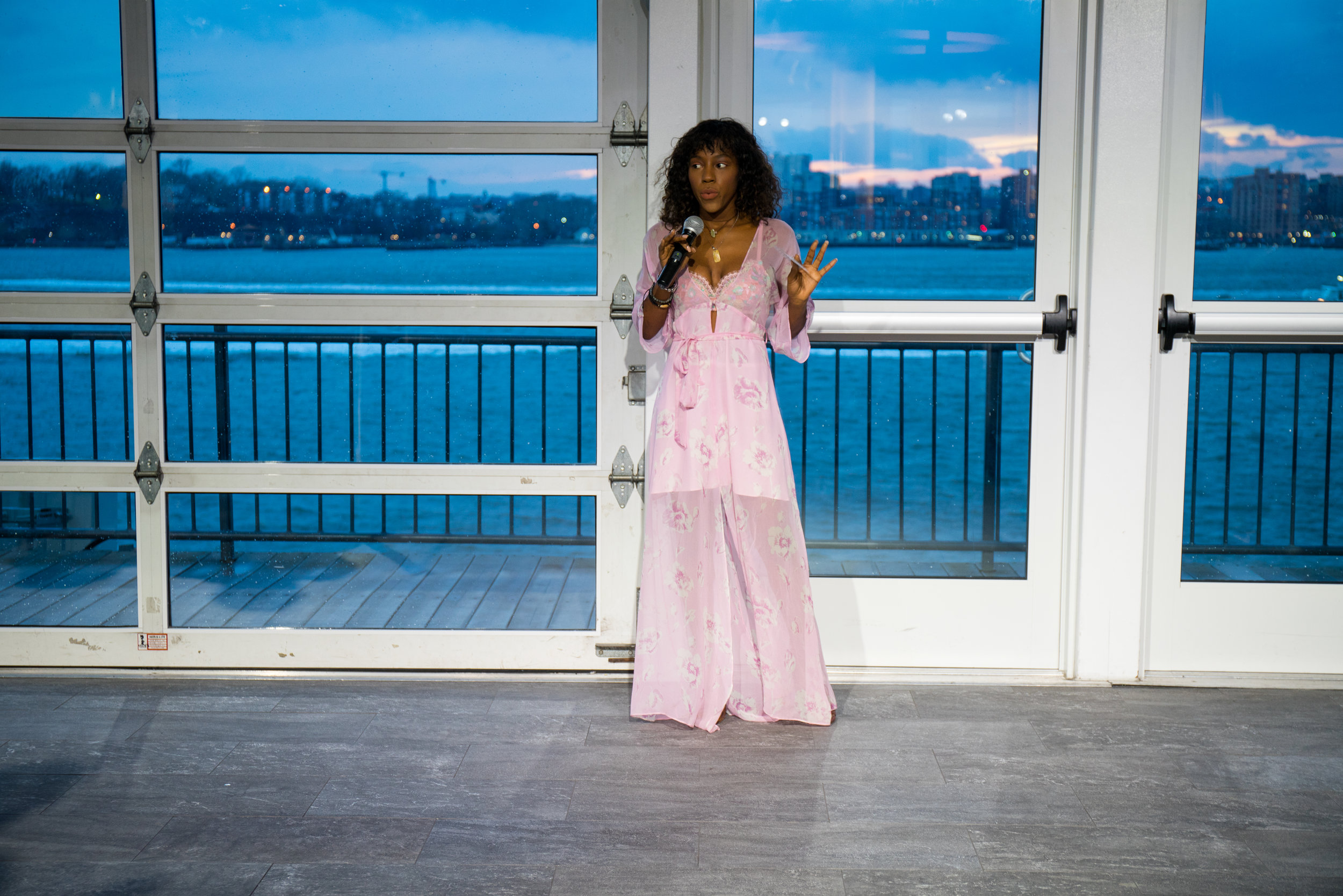 Fashion Blogger Swanky in  Deep-V Kimono Dress and Bralette