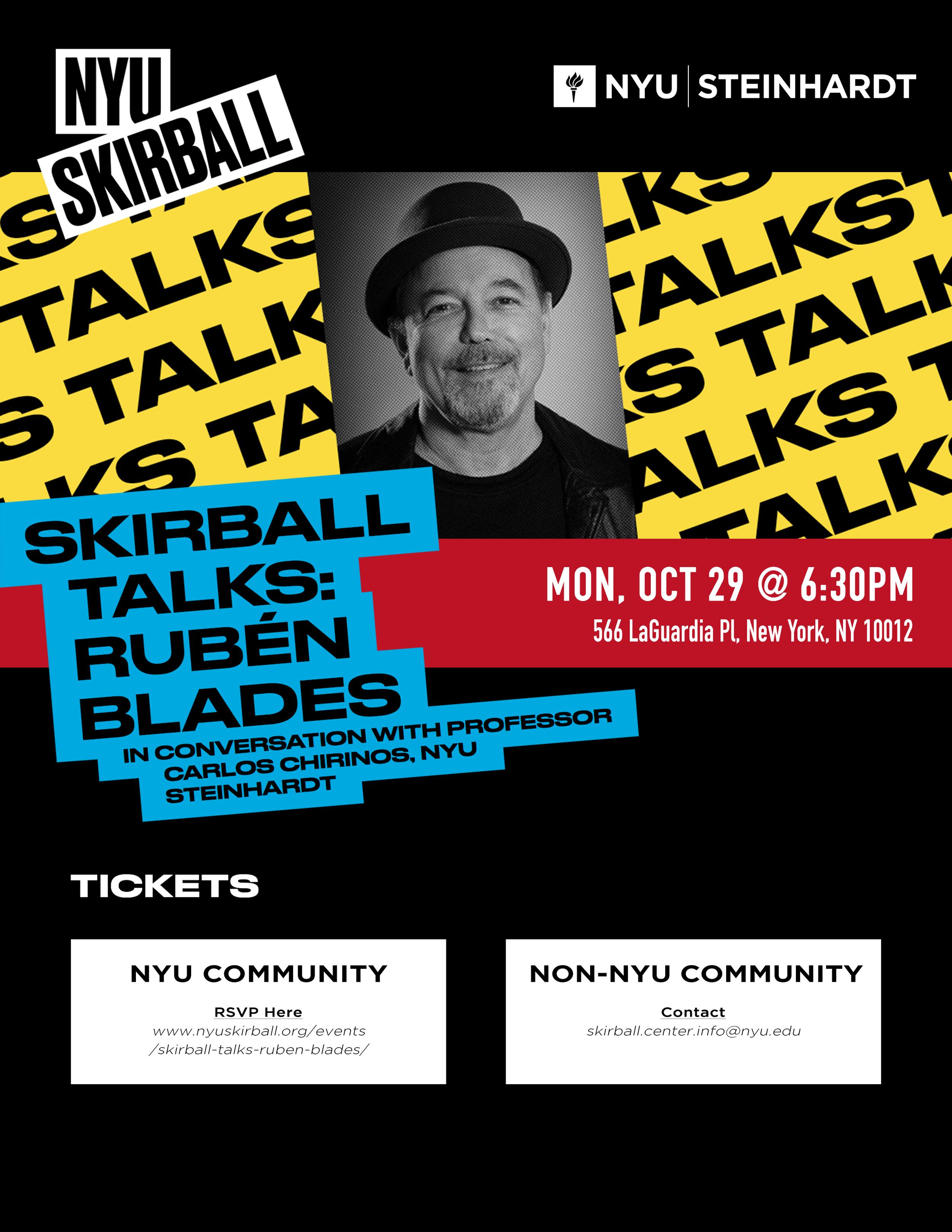 Event Flyer for Ruben Blades hosted by NYU Steinhardt