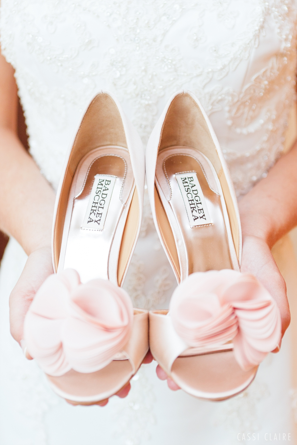 pink badgley mischka wedding shoes