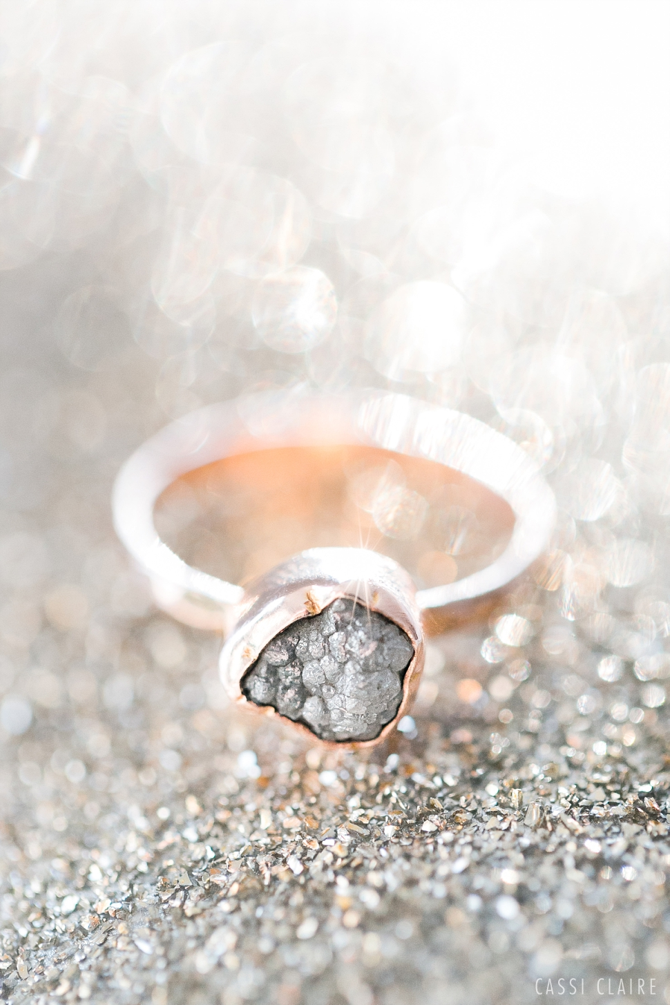 raw diamond engagement ring