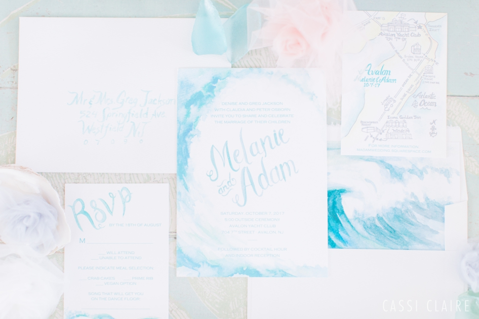 watercolor ocean inspired wedding invitation