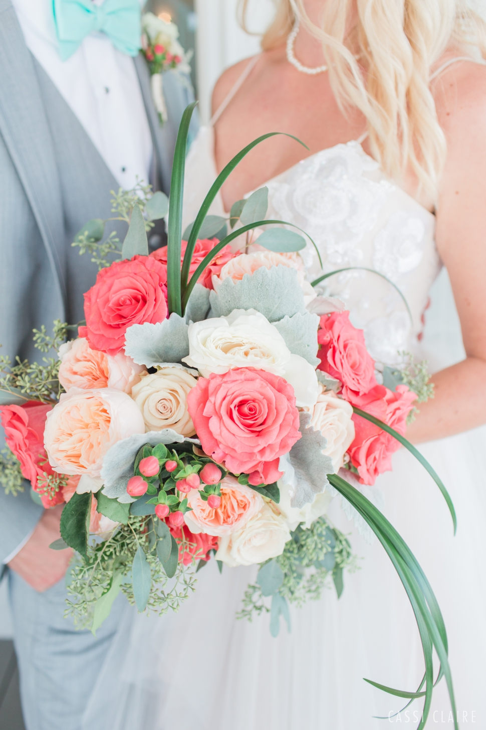 colorful coral wedding bouquet
