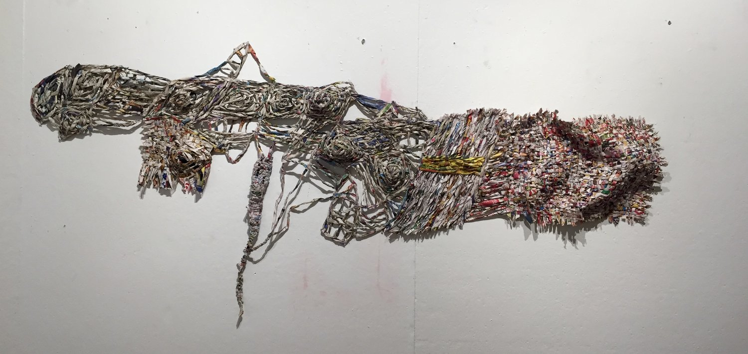 "Take a Deep Breath , 2016 newspaper and ink 20"" x 67"""