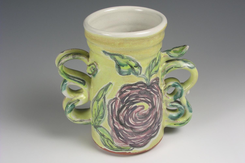 Majolica Floral Vase, View 2 crop.jpg