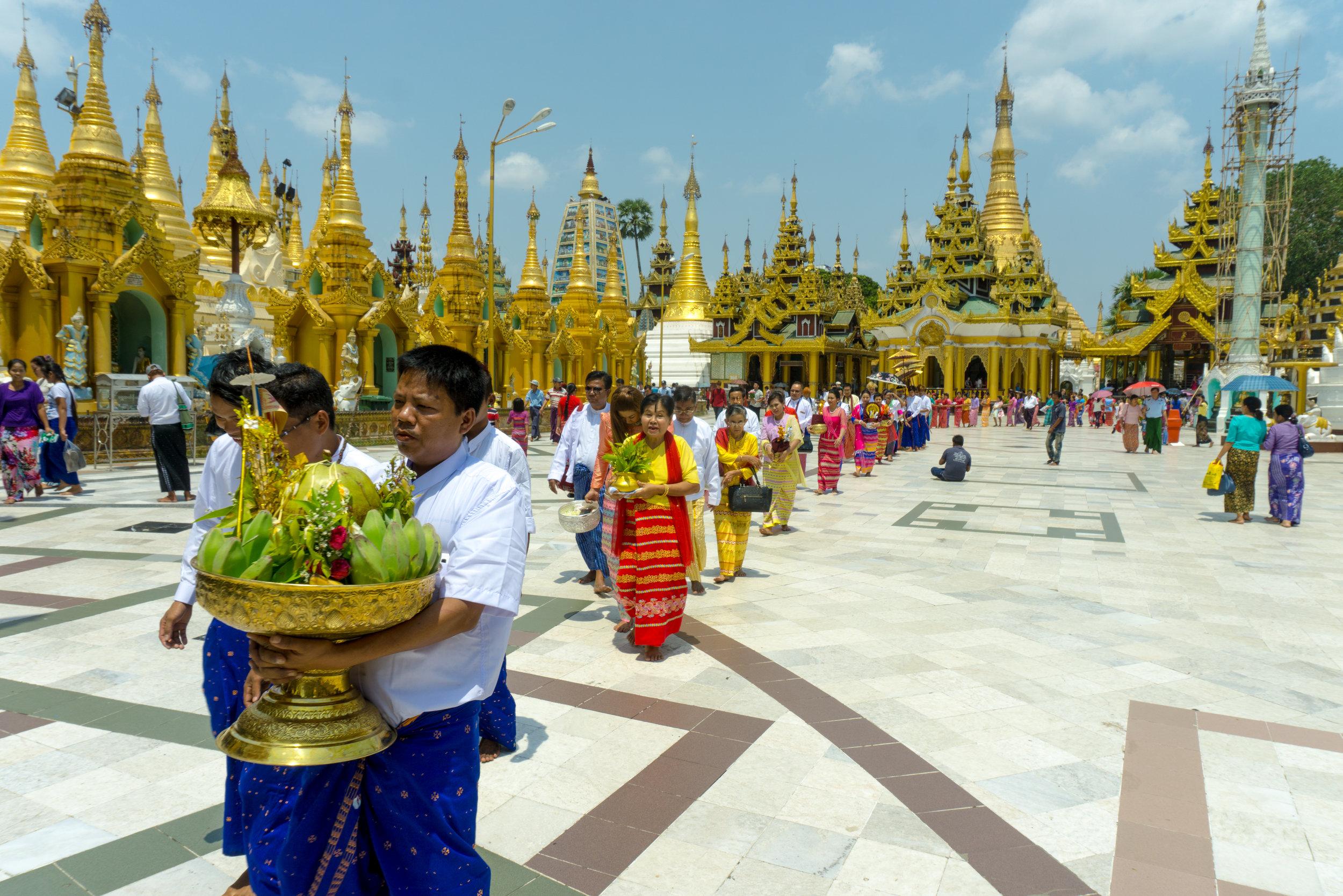 Wedding ceremony at Shwedagon