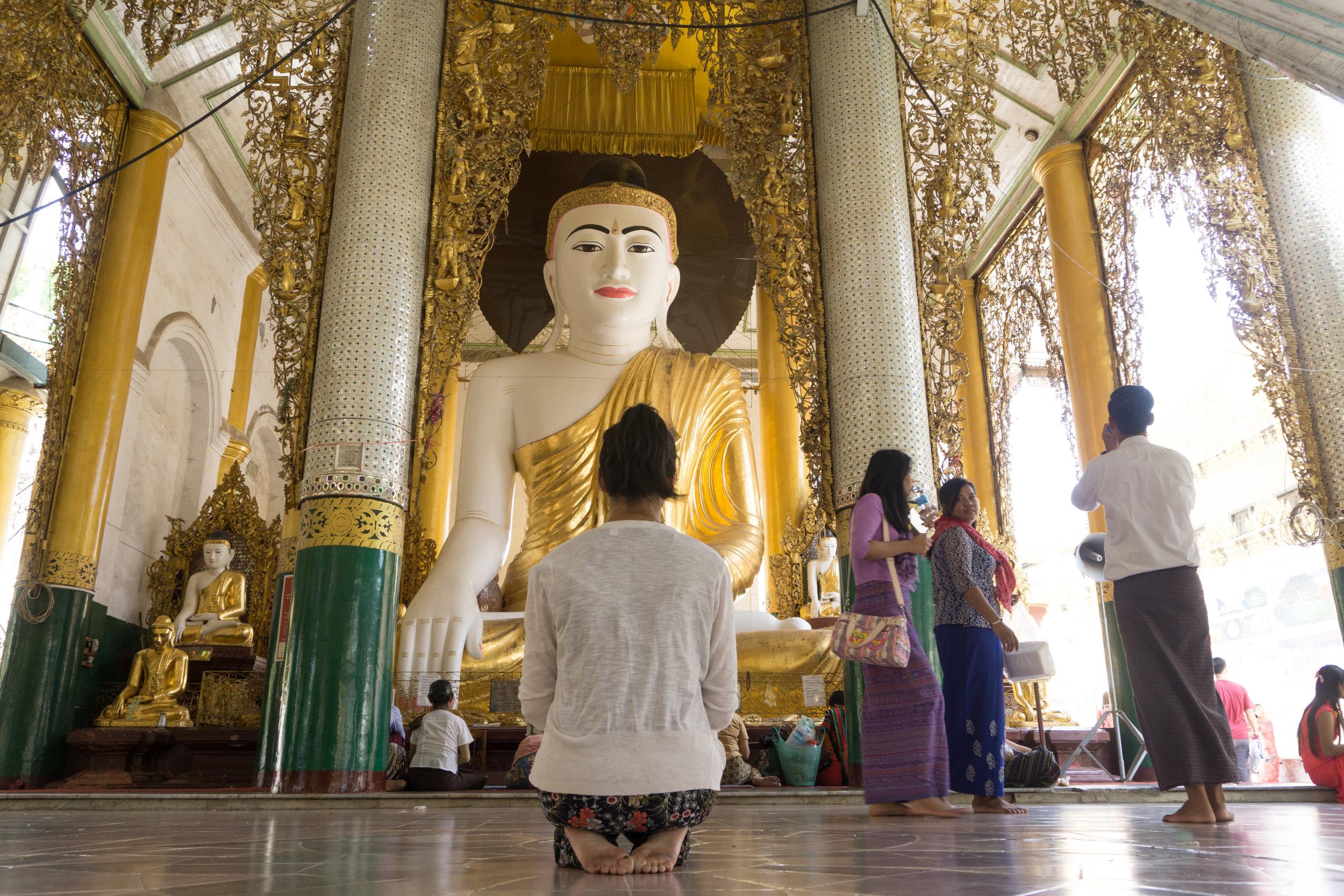 One of many Buddhas at Shwedagon