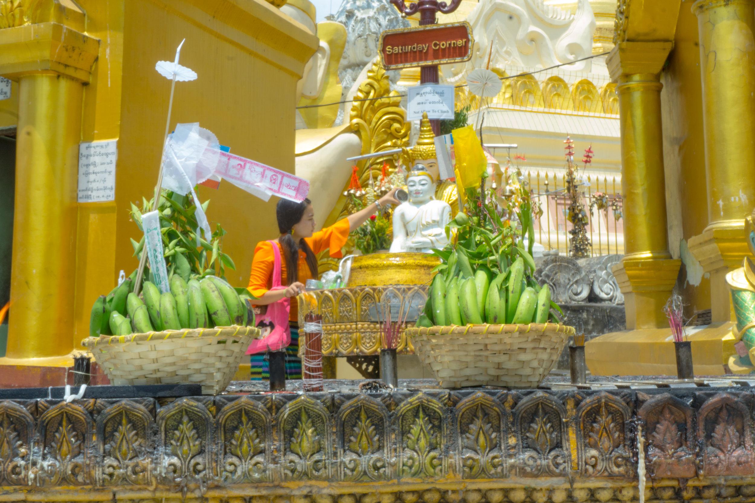 Washing Buddha at Shwedagon