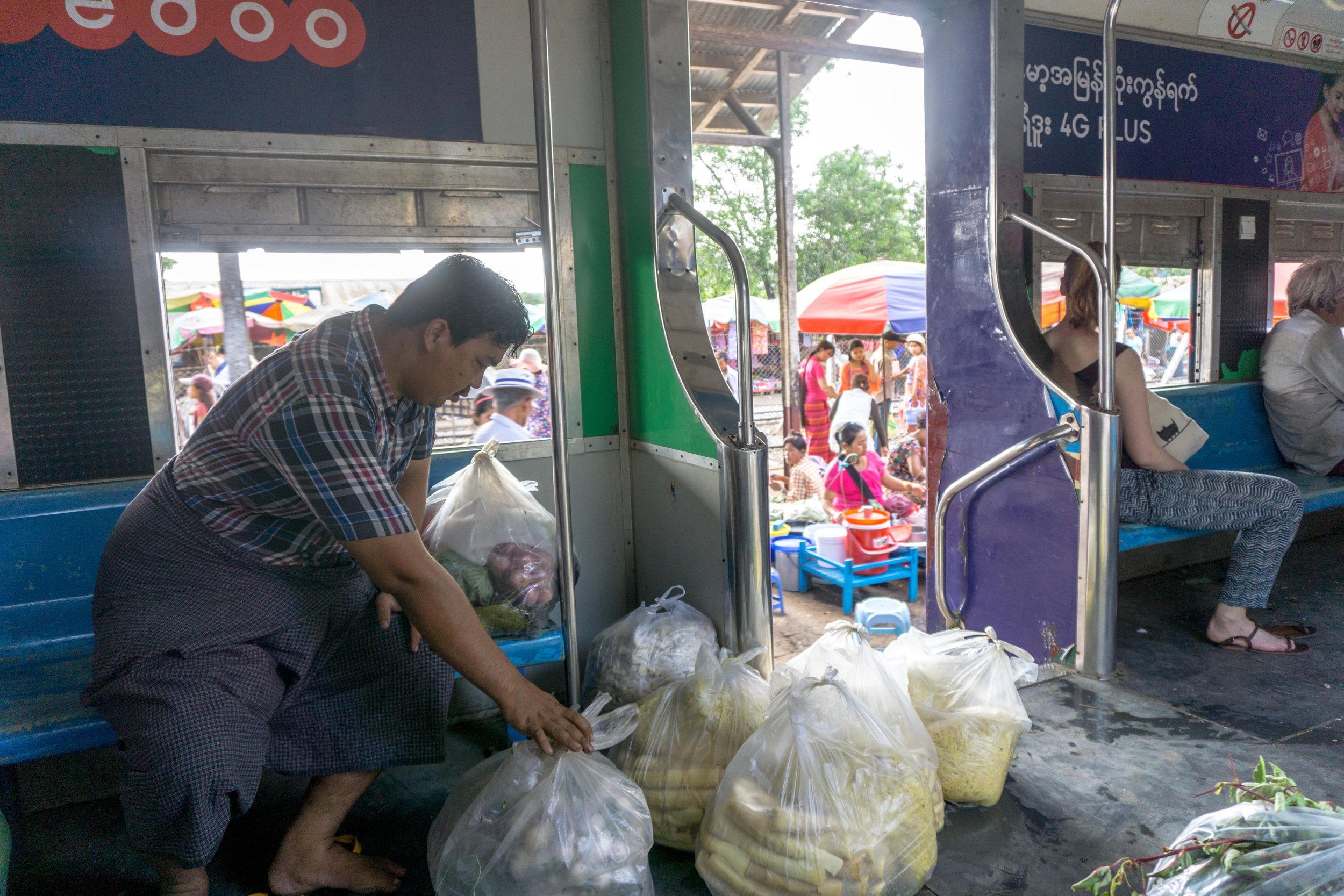 Loading produce on Yangon's Circular Rail