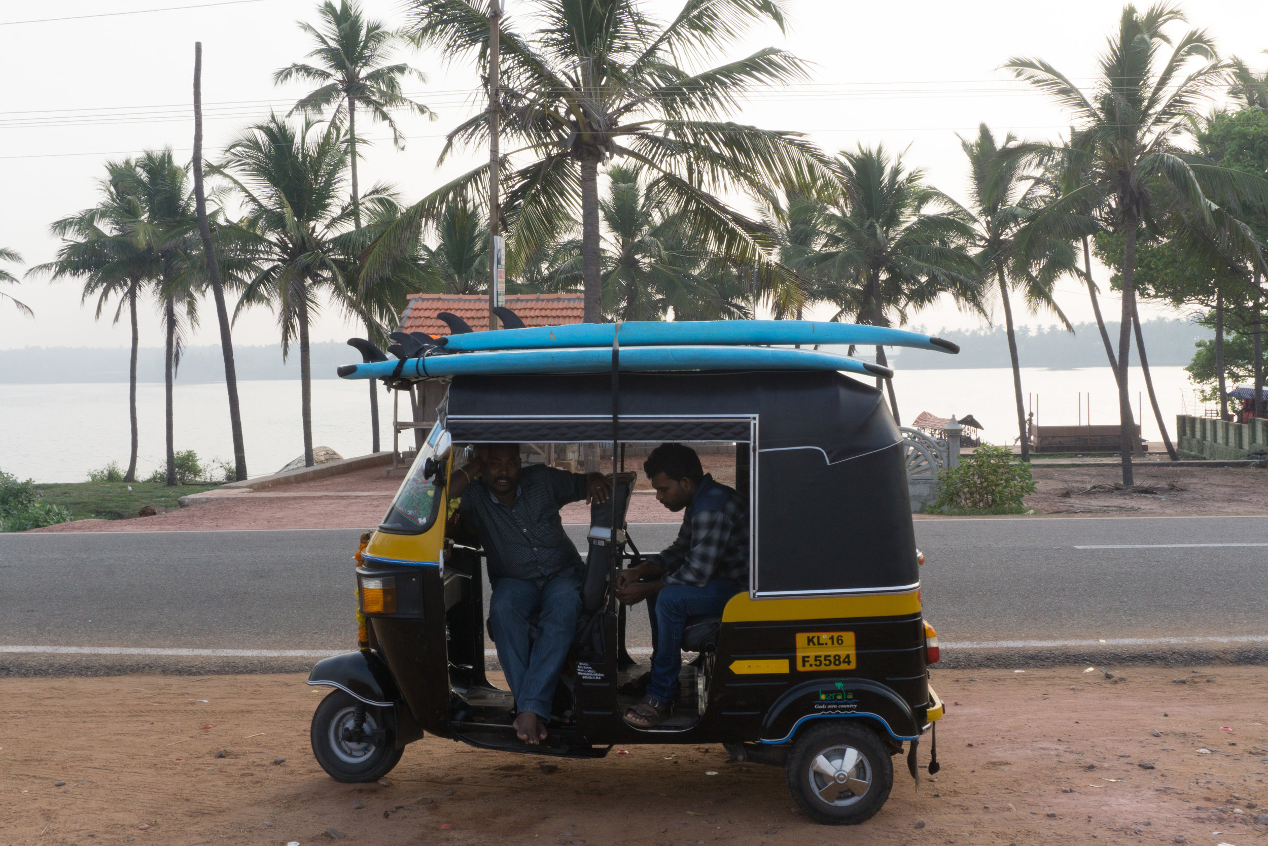 Surfboard rickshaws to the beach in Varkala at Surf & Soul