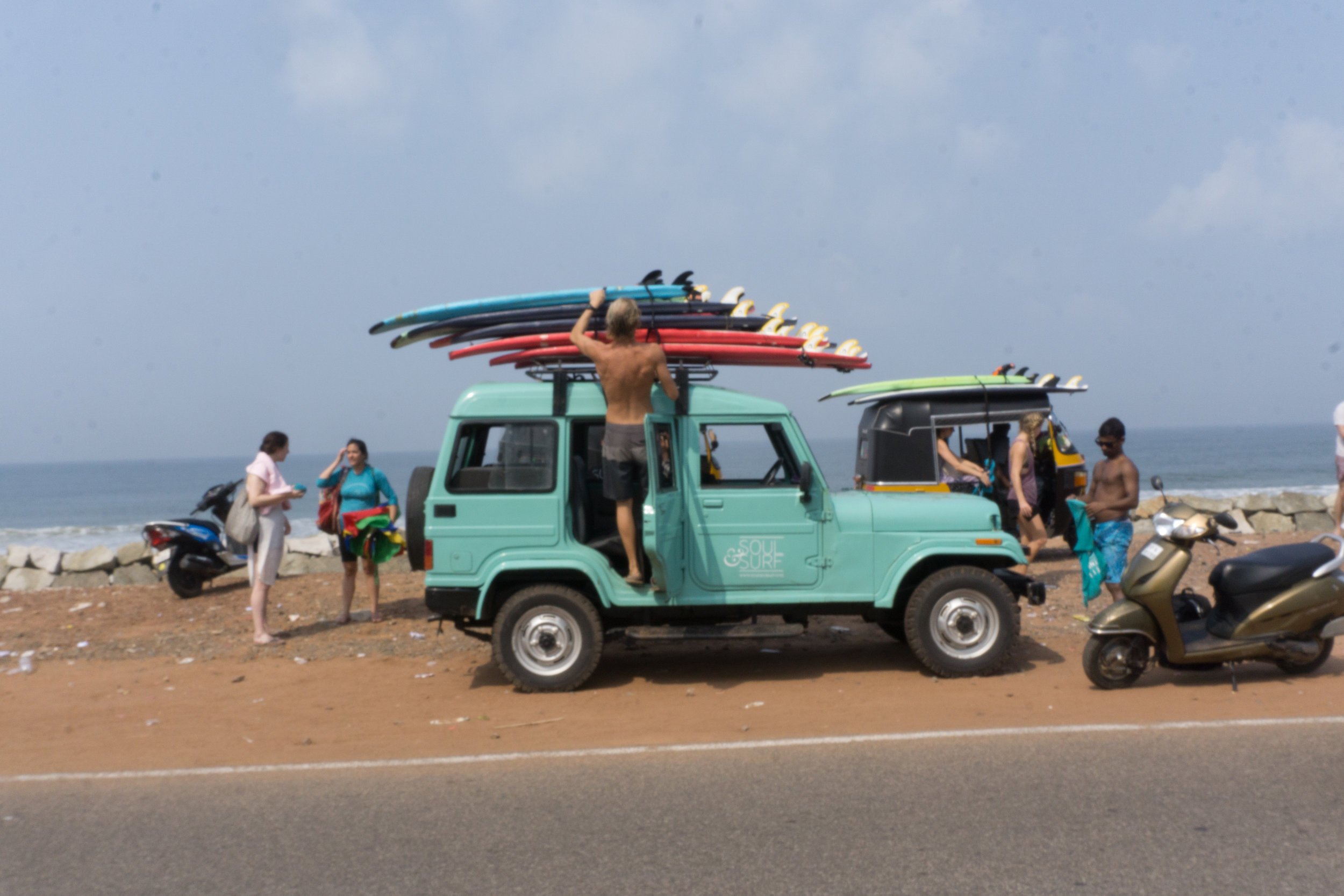 Our favorite jeep at the beach for an early morning surf in Varkala