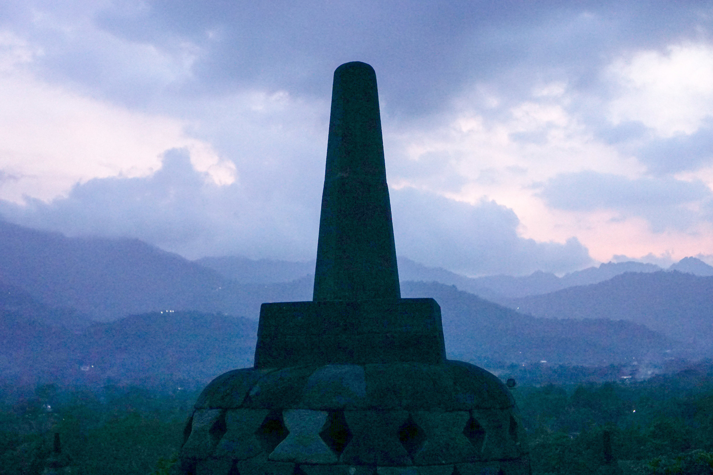 Borobudur at the end of sunset