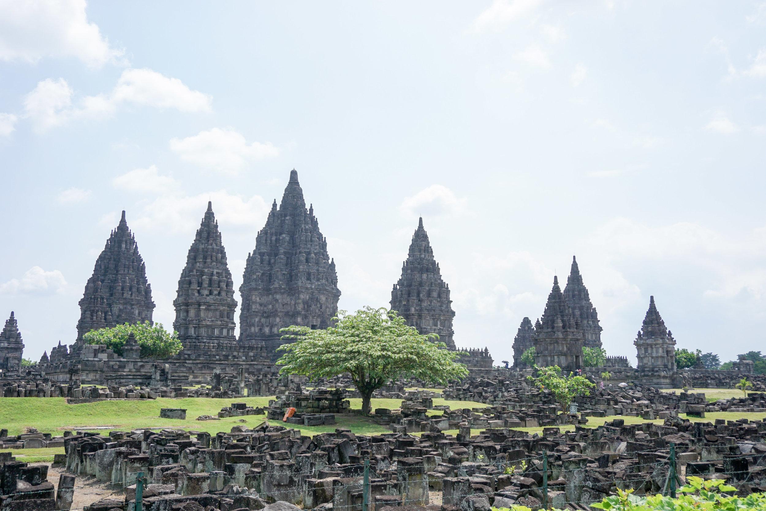Hindu site Prambanan from afar