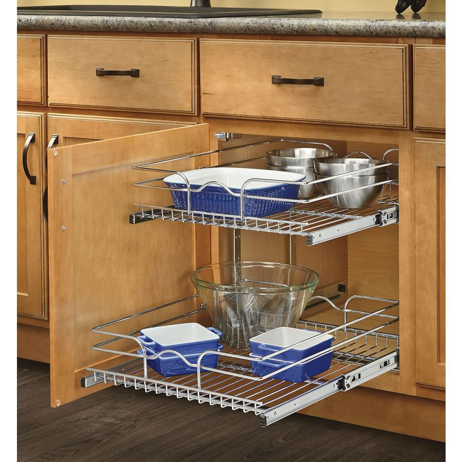 An undercabinet stainless steel rack for heavy objects. Credits:dituttiicolori.net