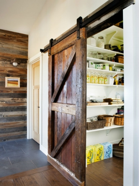A Pantry with a barn Door is another space saver and also quite the statement. With the increasing popularity of Barn Doors this pantry can add a lot of rustic but even eclectic big city style to your pantry