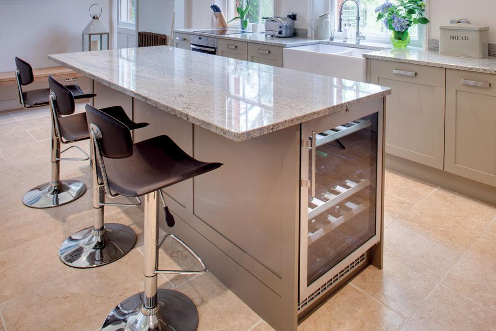 This island with just one row of cabinets has space enough for one cooler   CREDITS: TRESKE KITCHEN
