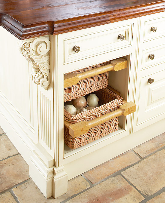 The chunky wood frame around the baskets makes it look more rustic   PHOTO CREDIT: PINTEREST