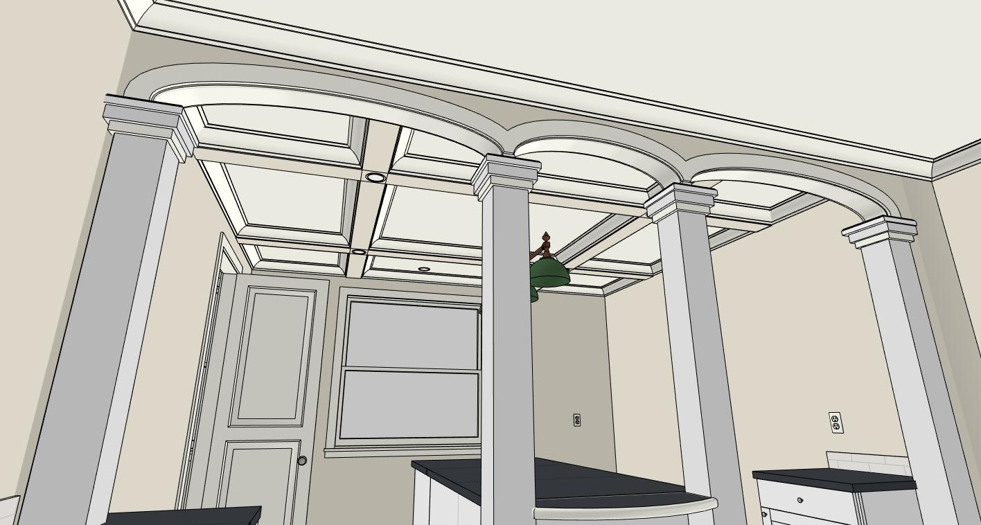 Coffered Ceiling with Arches