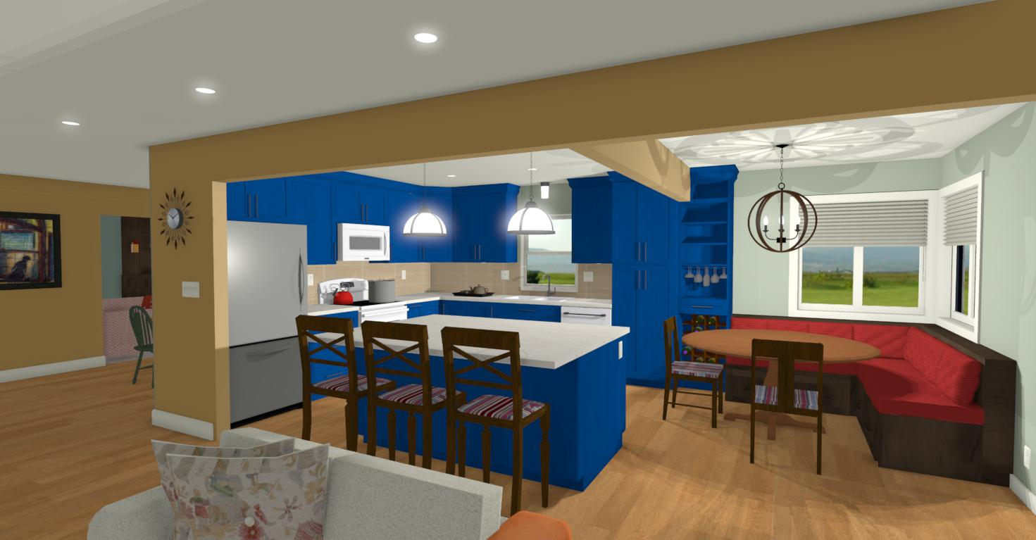 Open Plan L-shape Custom Kitchen with Island & Eating Window Bench Seating