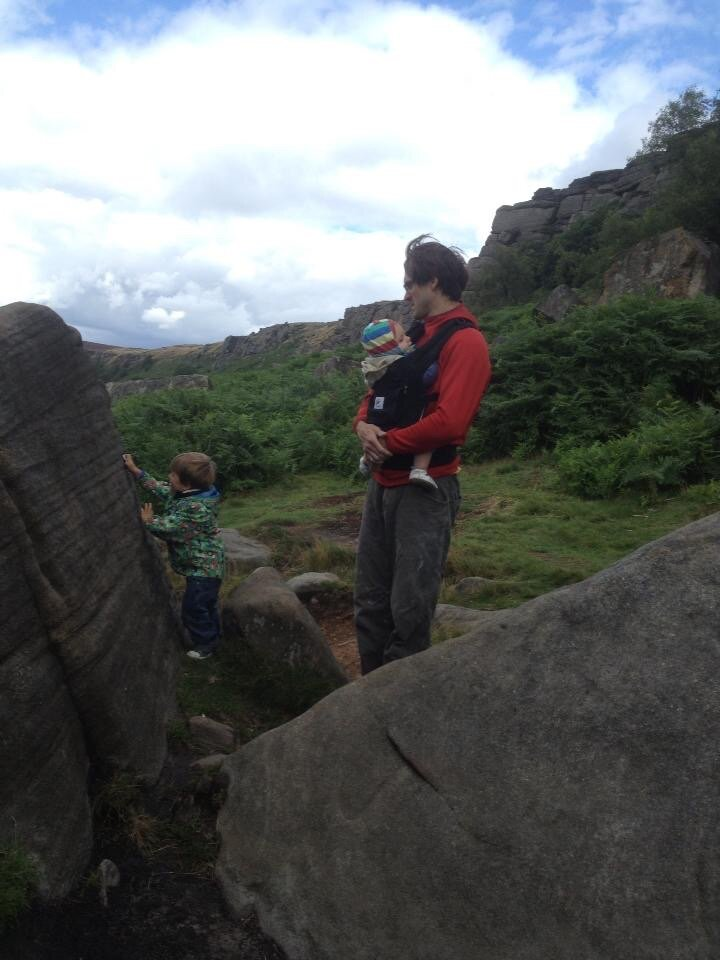 Briggs boys out for a boulder at Burbage