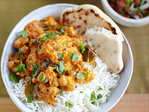 Have a Meat-Free Monday to help you cut back on your meat consumption. There are some delicious recipes out there. How about this  pumpkin, chickpea and coconut curry  from Jamie Oliver?