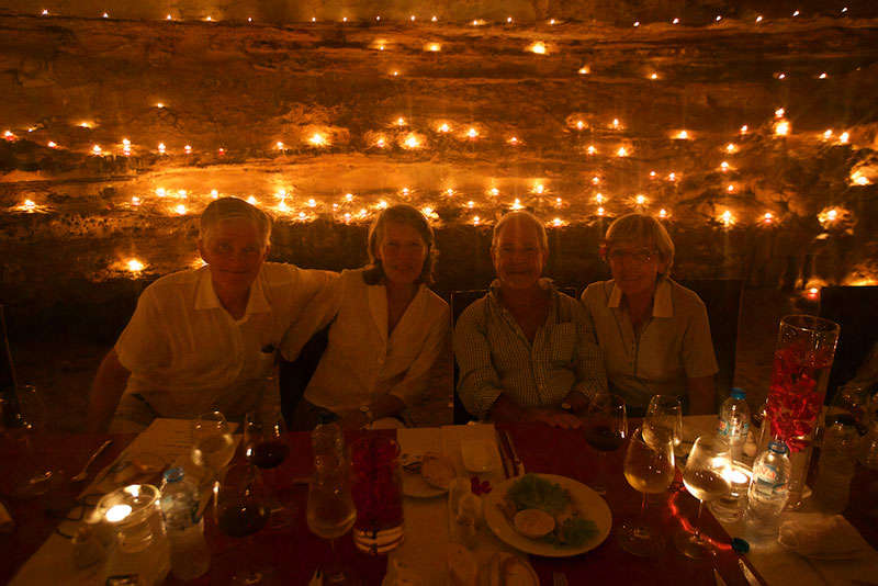 Verena, Amnon (right), Barbara and Max soak in the ambiance of 1200 candles as they dine in a cave.